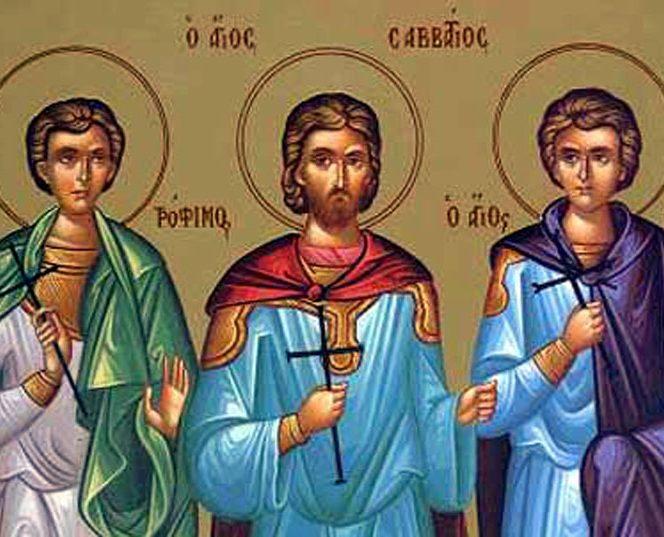 Sfinții mucenici Trofim, Savatie și Dorimedont