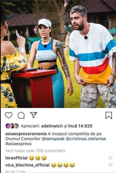 Speak și Ștefania, ipostază amuzantă la Asia Express. Sursa foto: Instagram