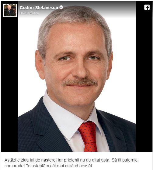 Codrin Ștefănescu, mesaj de ziua lui Liviu Dragnea