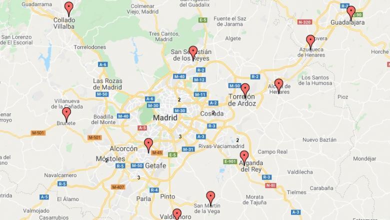 Harta interactivă a secțiilor de vot de peste hotare. Sursa foto: digi24.ro
