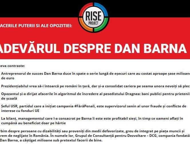 Dan Barna, anchetă în Rise Project cu privire la afacerile sale din fonduri europene