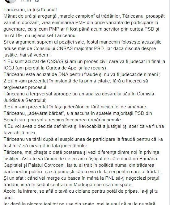 Traian Băsescu, atac la Călin Popescu - Tăriceanu
