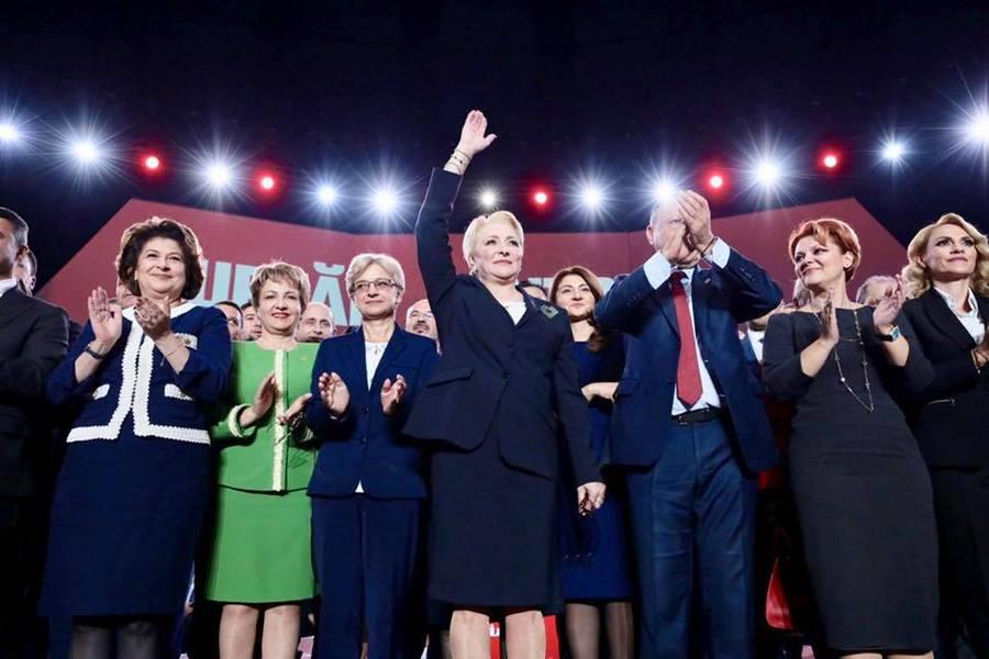 Viorica Dăncilă și-a lansat candidatura la prezidențiale, alături de liderii social-democrați. Sursa foto: hotnews.ro