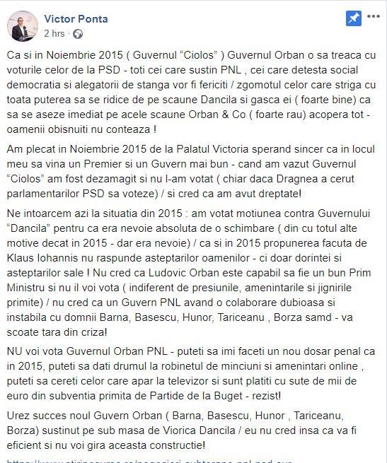 """Victor Ponta crede că Ludovic Orban își va face guvernul cu """"trădătorii din PSD"""""""