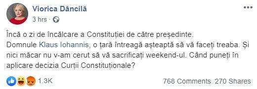 Viorica Dăncilă i-a dat tag pe facebook lui Klaus Iohannis