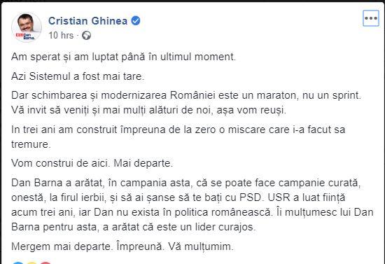 Europarlamentarul USR Cristian Ghinea a reacționat după înfrângerea lui Dan Barna