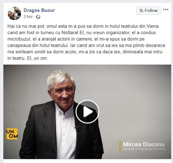 Dragoș Bucur, acuze la adresa lui Mircea Diaconu