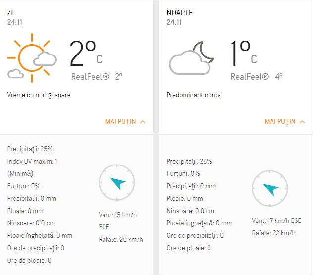 Prognoza meteo 24 noiembrie