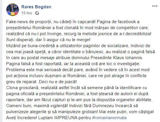 Rareș Bogdan, reacție dură după ce pagina de facebook a lui Klaus Iohannis a fost clonată