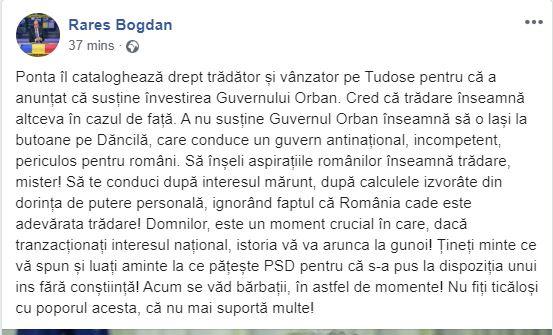 Rareș Bogdan îi ia apărarea lui Mihai Tudose în lupta cu Victor Ponta