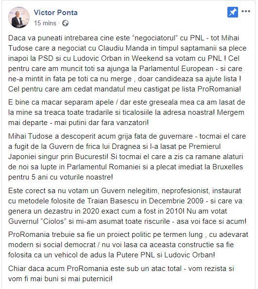 Victor Ponta îl acuză pe Mihai Tudose de trădare