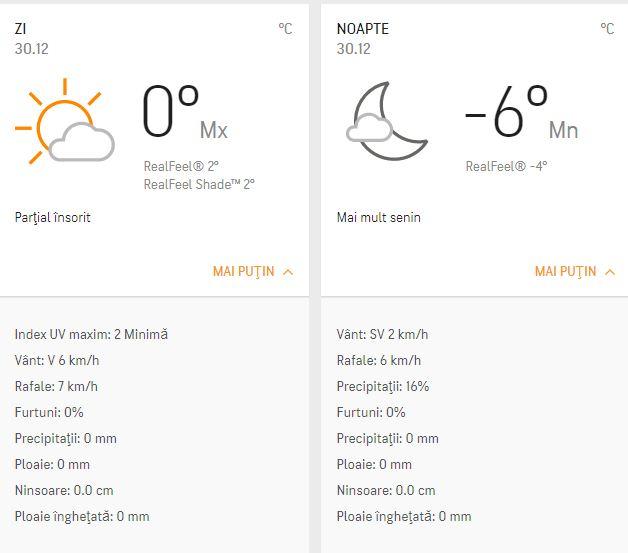 Prognoza meteo 30 decembrie