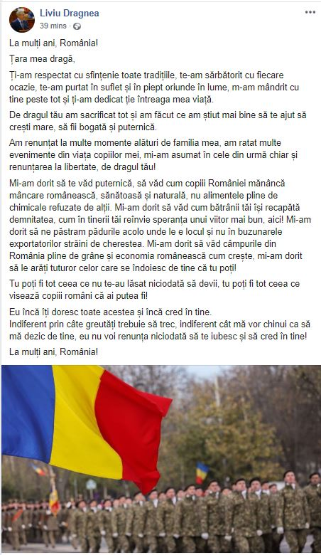 Mesajul lui Liviu Dragnea de Ziua României