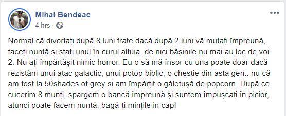 Mihai Bendeac a vorbit despre căsătorie, într-o postare care s-a viralizat pe facebook