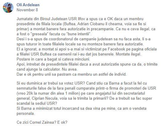 Protest la USR după ce Oli Ardelean, o contestatară a liderului Dan Barna, a fost exclusă din partid