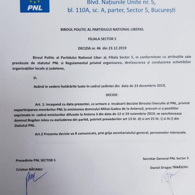 Bogdan Jelea, OUT din PNL! Gâdea. Document