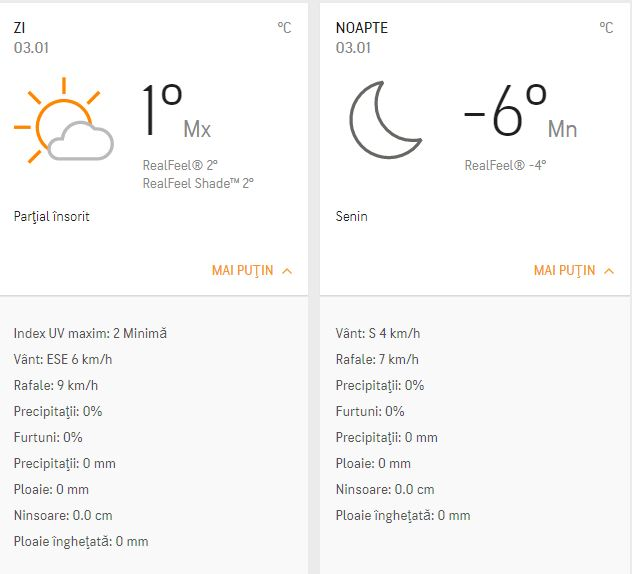 Prognoza meteo 3 ianuarie