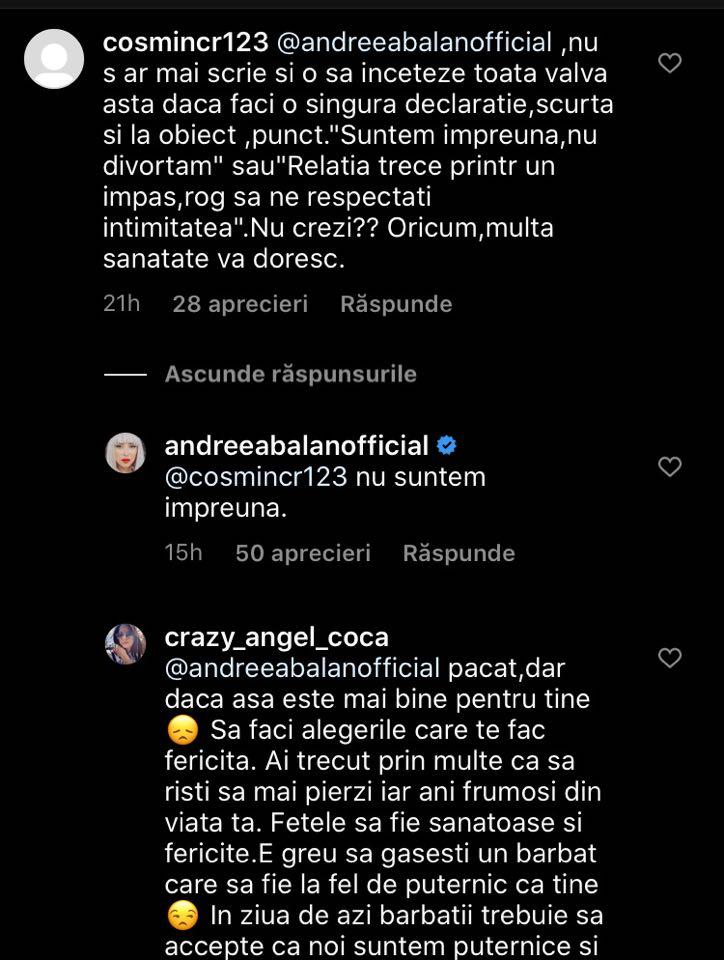 Reacția Andreei Bălan în momentul în care un fan i-a reproșat că ezită să vorbească despre divorț. Sursa foto: Instagram