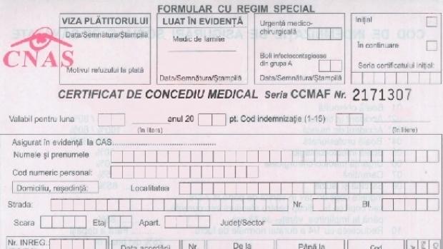 în concediu medical după excedent
