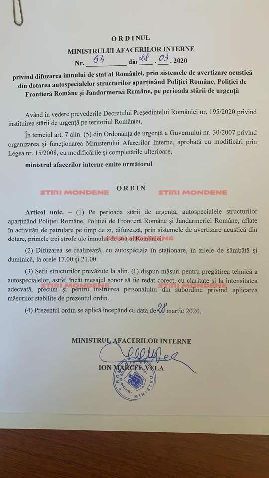 Ordinul semnat de Marcel Vela