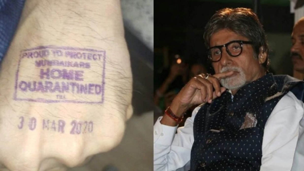 """Actorul indian Amitabh Bachchan, mare vedetă la Bollywood, a postat pe twitter o imagine în care apare o ștampilă pe mână care scria: """"Mândru de a-i proteja pe Mumbaikars. Acasă în carantină"""". Sursa foto: indiatoday.in/"""