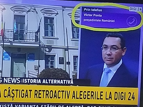 "Victor Ponta, ""instalat"" în funcția de președinte al României la Digi 24. Sursa foto: Captură TV"